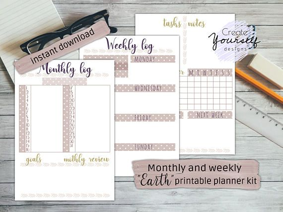 Check out this item in my Etsy shop https://www.etsy.com/listing/533583232/earth-printable-planner-printable-bullet