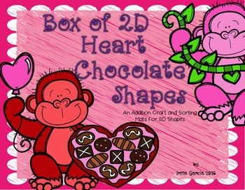 Box Of 2D Heart Chocolate Shapes Valentines Pinterest