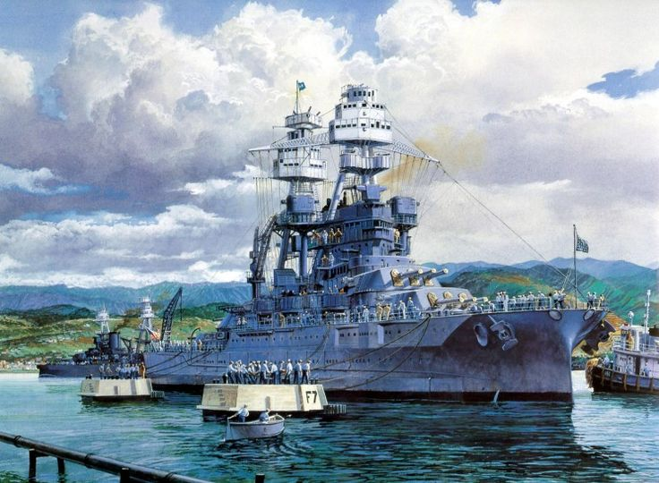 """The Last Mooring"" by Tom Freeman - The USS Arizona before the Japanese sneak attack at Pearl Harbor"