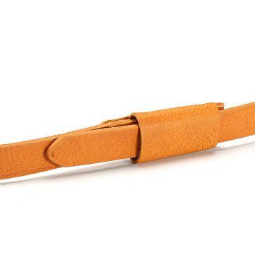 Retro Women Lady PU Leather Narrow Thin Waistband Durable Candy Color Waist Belt at Banggood
