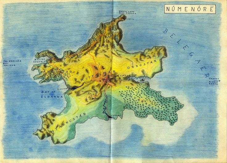Map of Númenor, from Lalaith's Middle-earth Science Pages