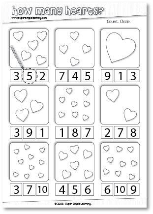 How Many Hearts? Counting worksheet for Preschool/Kindergarten.