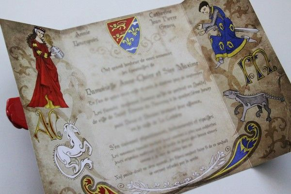 I like how this one opens up and has a wax seal. Too much?  - - Wedding Invitation - Medieval Wedding - Medieval style parchment with embellishments and color