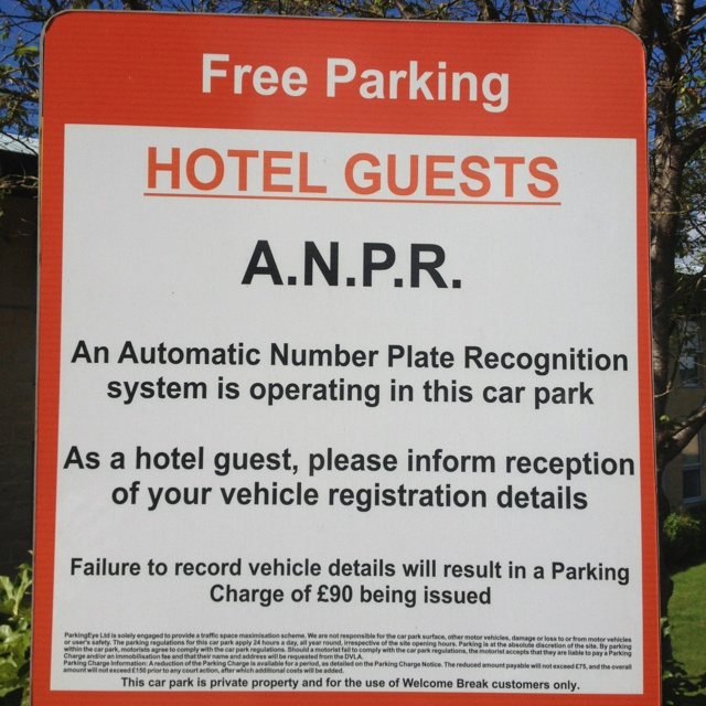 """AutoMatic Number Plate Recognition to fine people parking at the Highway """"Welcome Break?"""" interesting"""