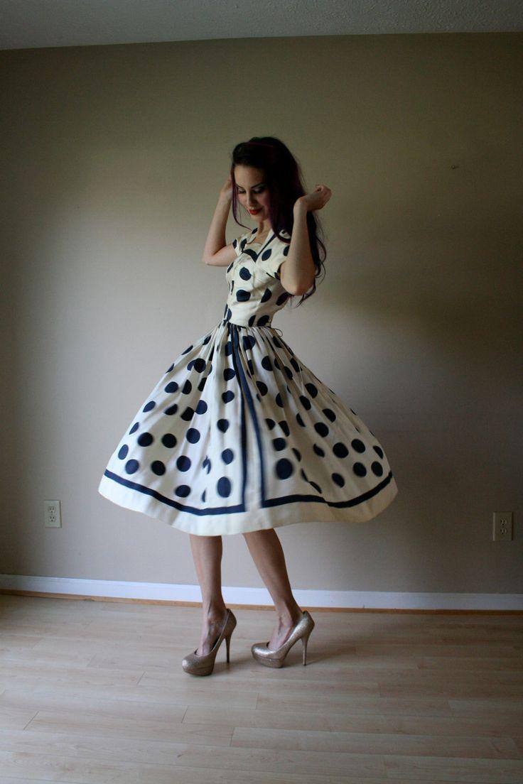 50s Dress // Anne Fogarty Dress // Polka Dot Dress // 1950's Silk Dress // Novelty Dress. $144.00, via Etsy.
