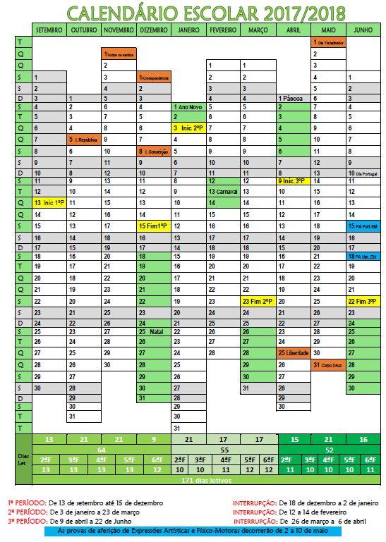 Cantinho do Primeiro Ciclo: Calendário letivo 2017-2018
