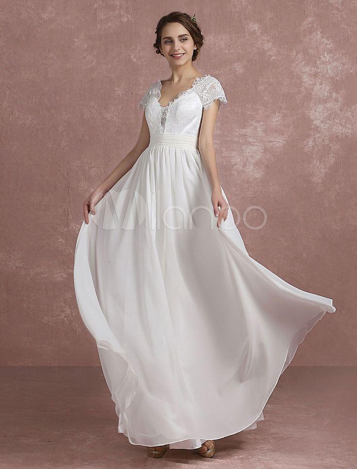 Beach Wedding Dress Lace Chiffon V Neck Bridal Dress Short Sleeve Ruched Waist A Line Floor Length Bridal Dress