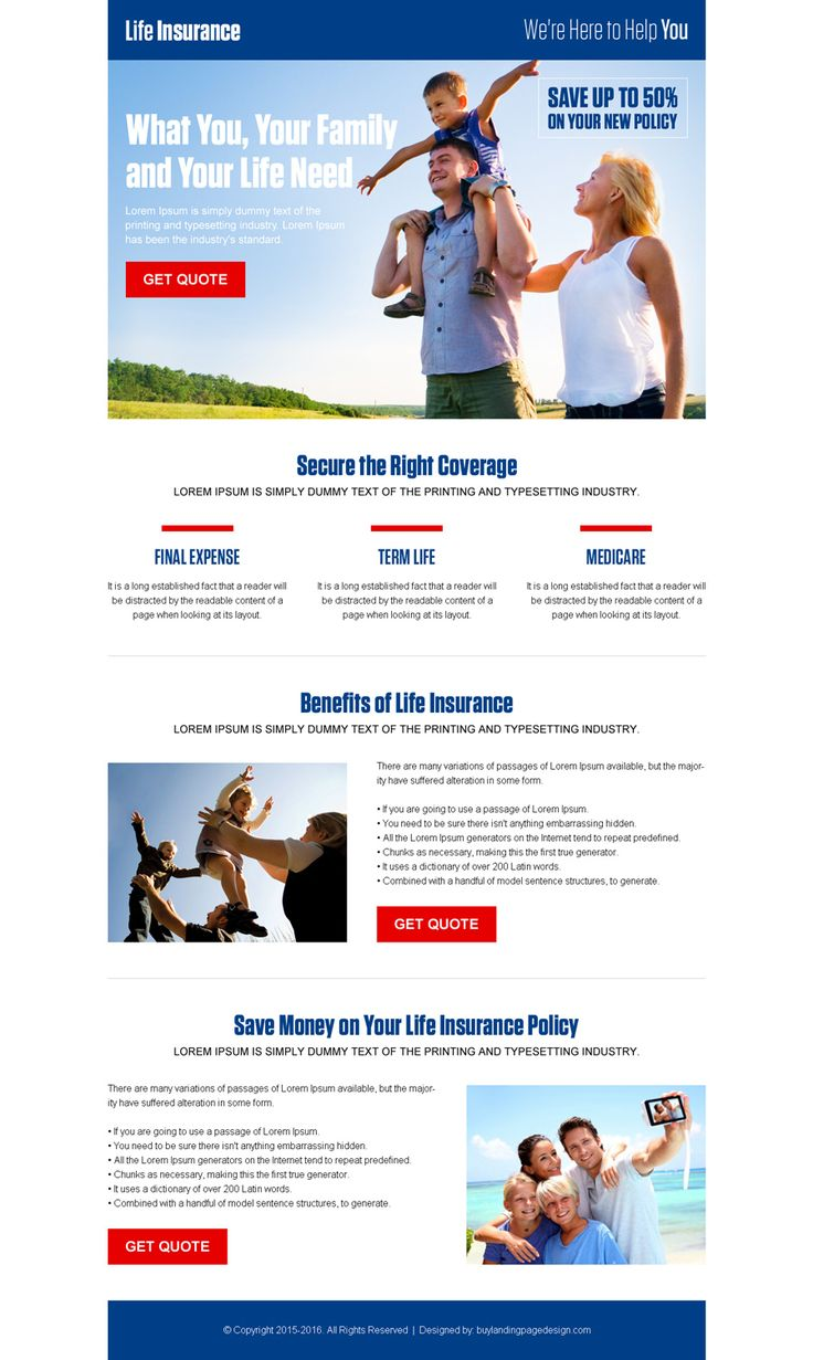 converting life insurance landing page design templates