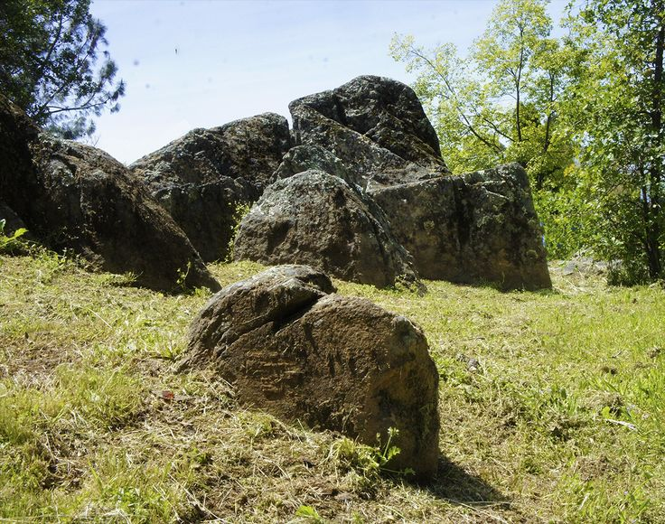 American Legion Park, Martel, Sutter Hill, Sutter Creek, Jackson - Noticed the stones in the lovely park near the Hall, and was reminded of the Standing Stones of Carnac, France. These stone outcroppings we drive by every day are every bit as peculiar as any that can be found on this planet. Look closely at the markings on these where the angle of the shadow allows surface definition (if you are a history or iconography enthusiast), you may notice something quite out of time/place...