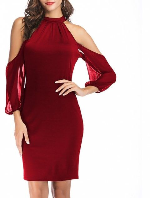 e843a6379e76 Women s Solid Color Off Shoulder Sleeve Chiffon Pathwork Halter Slim Mini  Dress - RED WINE M