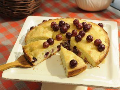 Olive Oil-Grape Cake with Honey-Ginger Glaze