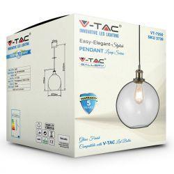 Φωτιστικό Οροφής Κρεμαστό γυαλί E27 Διάφανο VT-7250 V-TAC