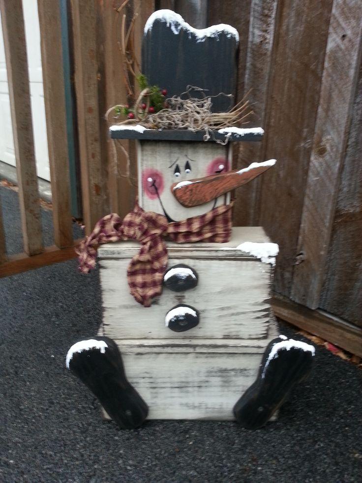 Schneemann aus Schachteln - Schubladen