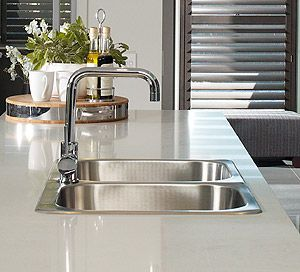 Top mounted double bowl sink with drainer and square neck mixer  Love this type of sink and mixer for scullery