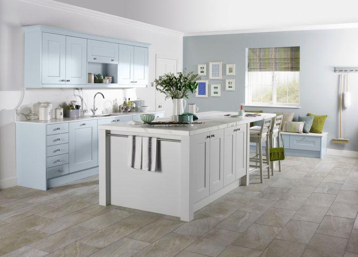 Burbidge 39 s stowe kitchen in matt cornflower blue and matt for French blue kitchen ideas
