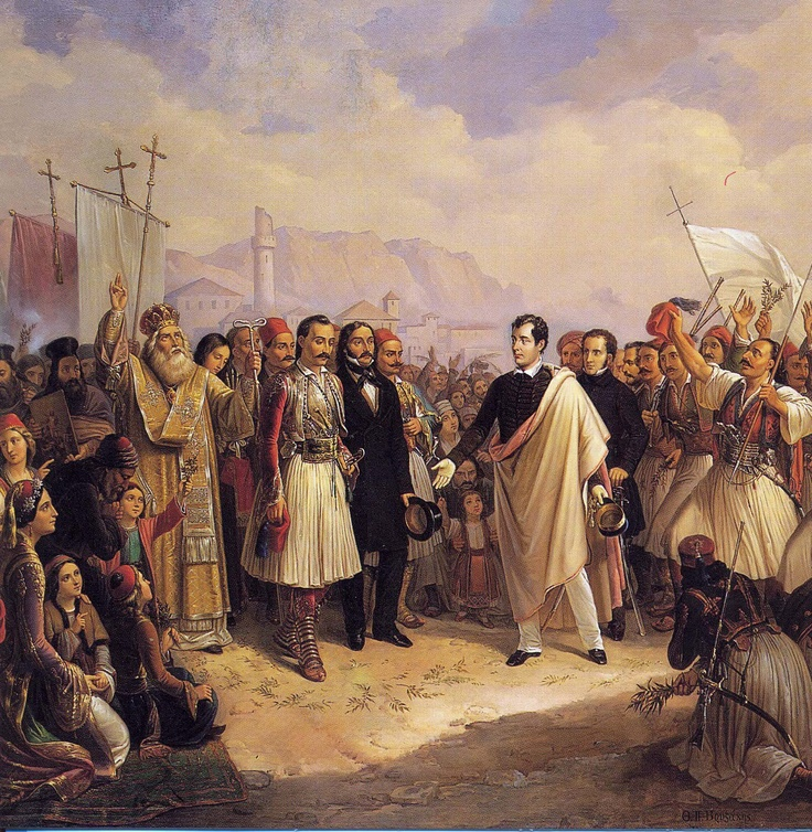 Theodoros Vrizakis,  1819- 1878 depicting Lord Byron arriving at Missolonghi
