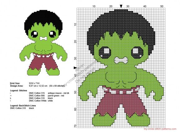 Baby Hulk free Superheroes cross stitch patterns