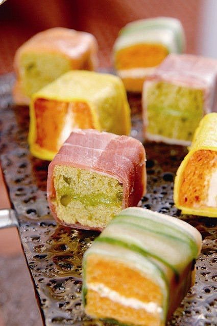 """sandwich cut into bite size pieces and wrapped in thin sliced cucumber, pancetta, or anything """"sushi""""..."""