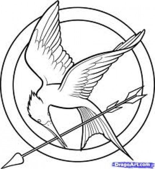 Free Hunger Games Mockingjay Halloween Pumpkin Template ... |Hunger Games Mockingjay Pin Outline