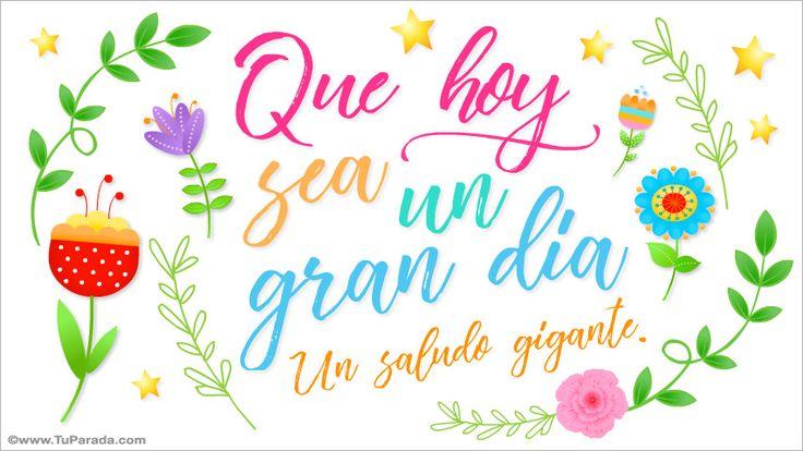 Tarjeta para un gran día con flores, Feliz Día, tarjetas, postales gratis, feliz día, nombres, fotos, imágenes, felices fiestas.