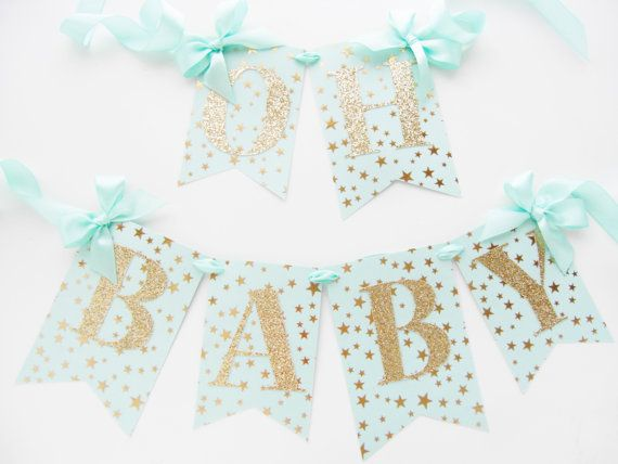 Hey, I found this really awesome Etsy listing at https://www.etsy.com/listing/252437799/mint-and-gold-baby-shower-banner-oh-baby