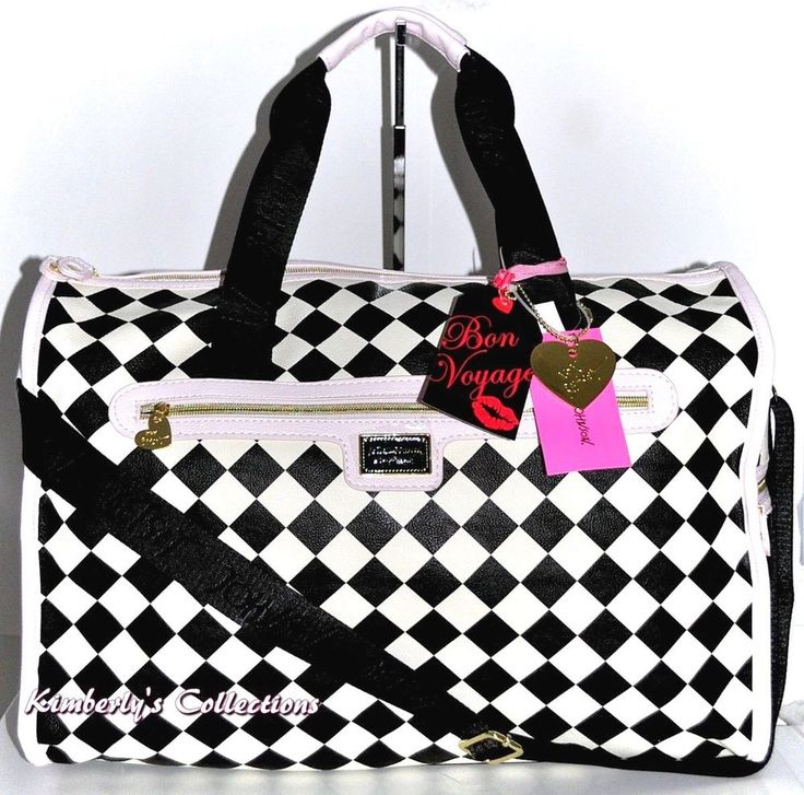 Betsey Johnson Harlequin White Black & Pink Weekender Duffel Travel Tote Bag NWT  | eBay