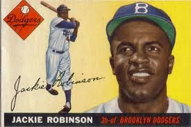 This is a picture of Jackie Robinson, the first African-American major league baseball player.