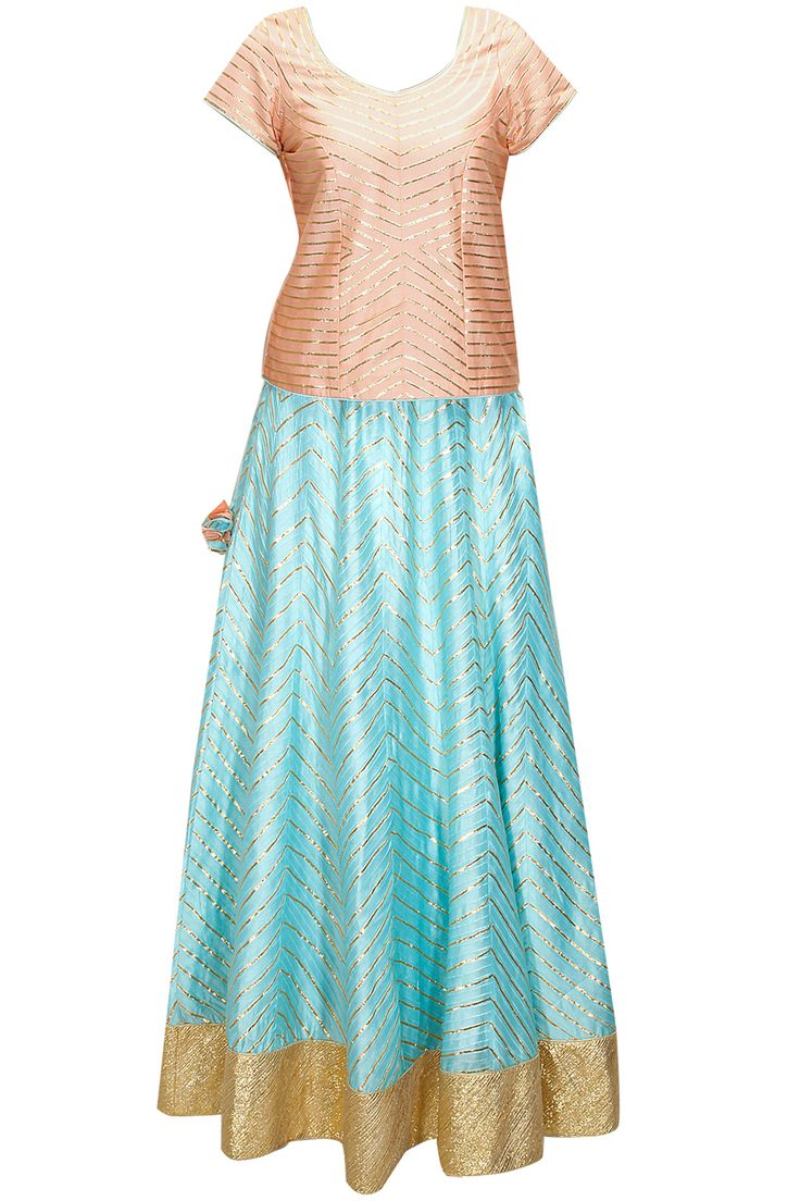 Peach and aqua gota emboidered lehenga set by The Silk Tree. Shop now: www.perniaspopups.... #lehenga #blouse #designer #thesilktree #pretty #clothing #shopnow #perniaspopupshop #happyshopping
