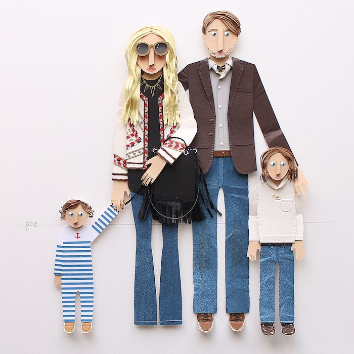 Paper portraits by Brittani Rose | Unique family portait illustration | Paper Family Portrait | Unique Gift | Lovely Gift for Creative People via @brittanirose + brittanirosepaper.com