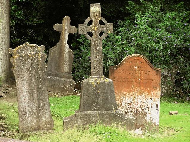 An old graveyard beside a castle here in Ireland