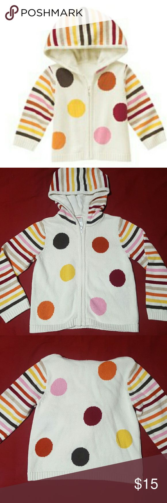 Gymboree Polka Dot Striped Hoodie Sweater Girls 5T Gymboree Sweater from the Fall For Monkeys Line. Polka Dots and Stripes with attached hoodie. Double layered for extra warmth. Girls Sz: 5T   New with Tags. Gymboree Shirts & Tops Sweatshirts & Hoodies