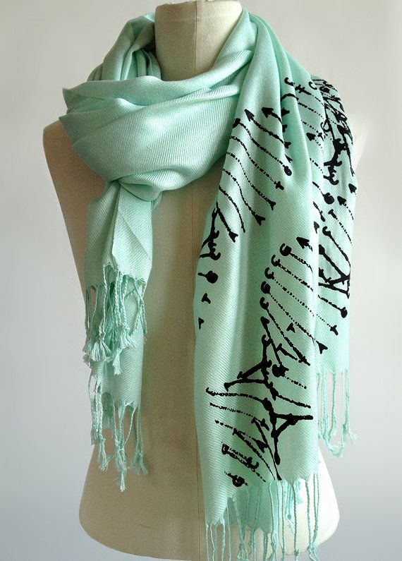 DNA Double Helix scarf. The letters ACTG that unzip to replicate and inform the meaty and brainy bits we are...here is some hot DNA action sure to