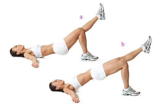 Flacher Bauch: Hüftheben mit gestrecktem Bein  a) Rückenlage. Rechtes Bein aufstellen, das linke strecken. Arme zur Seite, Hüfte leicht heben. b) Hüfte durchstrecken, kurz halten, senken