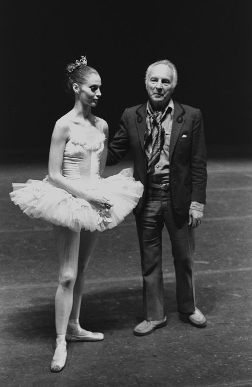 """New York City Ballet master George Balanchine with Suzanne Farrell in costume for """"Symphony in C"""", choreography by George Balanchine (New York)"""