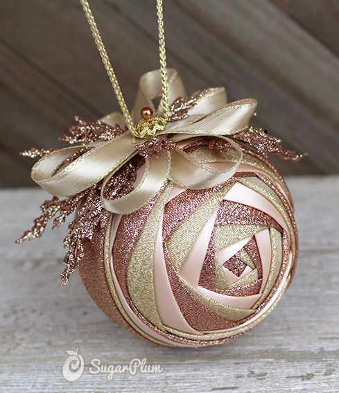 Rose Gold ornament -- a pretty no-sew quilted fabric ornament. This original ornament pattern is called Rosebud and the tutorial is available at theornamentgirl.com
