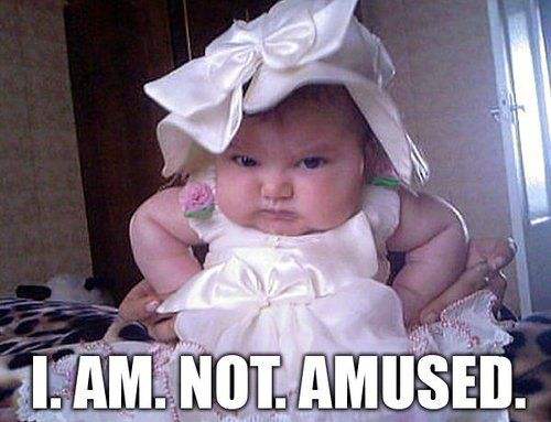hahaha cute. Kid with 'tude. This is what;s going to happen when my goofy kids play with your classy ones:p