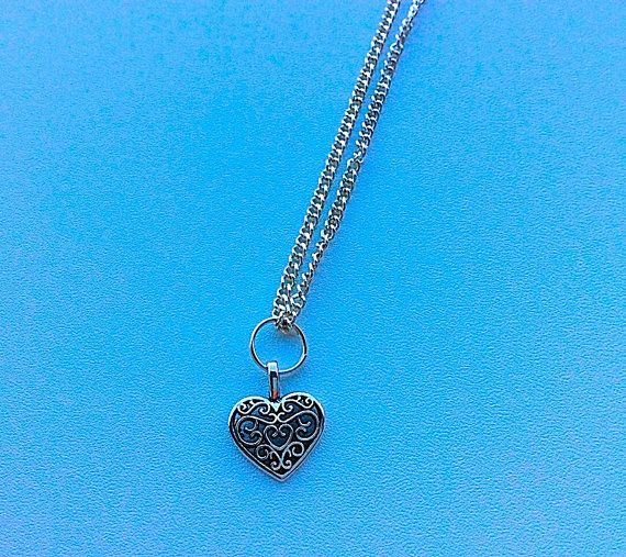 Silver heart necklace valentines gifts for her by PetalcraftArt