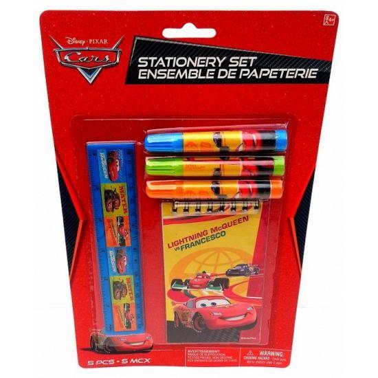 Cars schrijfwaren setje. 5-delig Cars setje met kladblokje, 3 stiften en een liniaal.