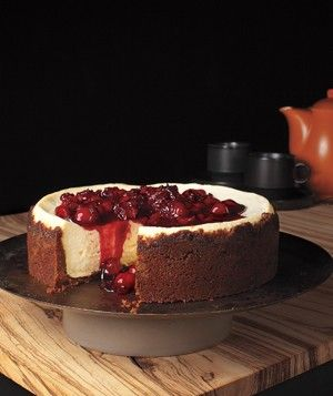 Gingersnap Cherry Cheesecake - Featured on Food2Fork.  #food2fork #food #recipes #cooking #delicious #ingredients #Yummy #cake #cheesecake #cherries