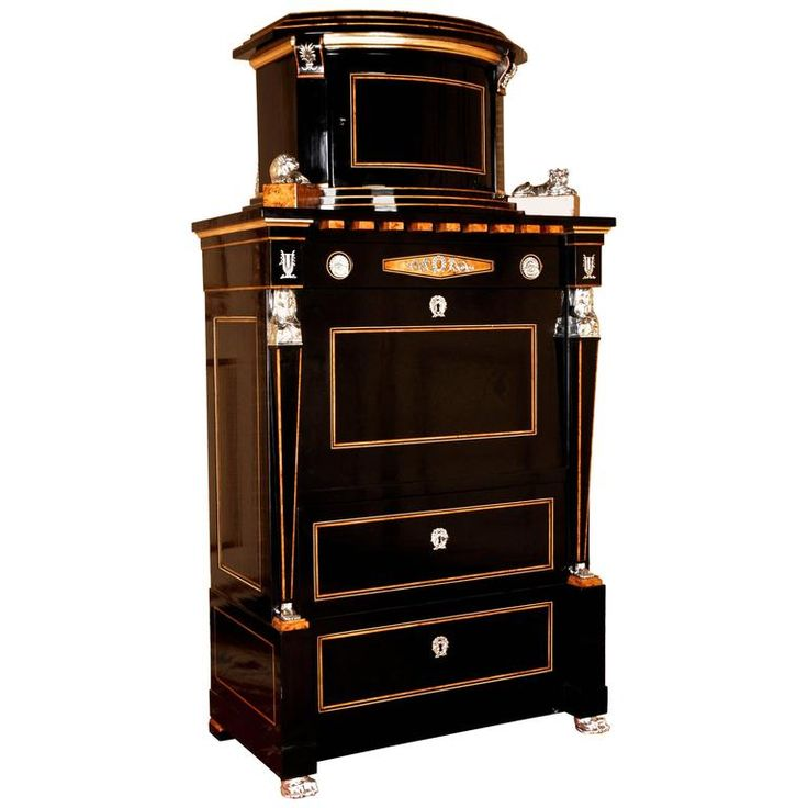 20th Century Empire Style Courtly Lion Secretaire | From a unique collection of antique and modern secretaires at https://www.1stdibs.com/furniture/storage-case-pieces/secretaires/