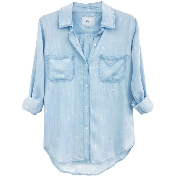 Rails Carter Long Sleeve Arrow Shirt - Denim & White ($175) ❤ liked on Polyvore featuring tops, button downs, button front shirt, collar top, denim shirts, denim top and long-sleeve shirt