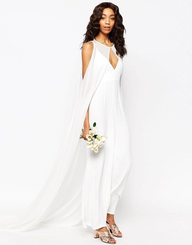 Image 1 of ASOS Bridal Jumpsuit with Detachable Cape