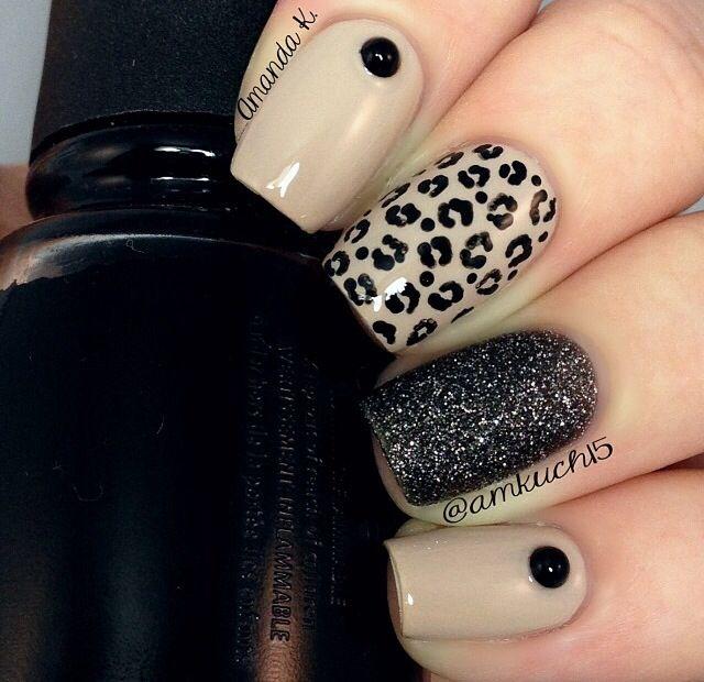 Nude nails cheetah black glitter nails
