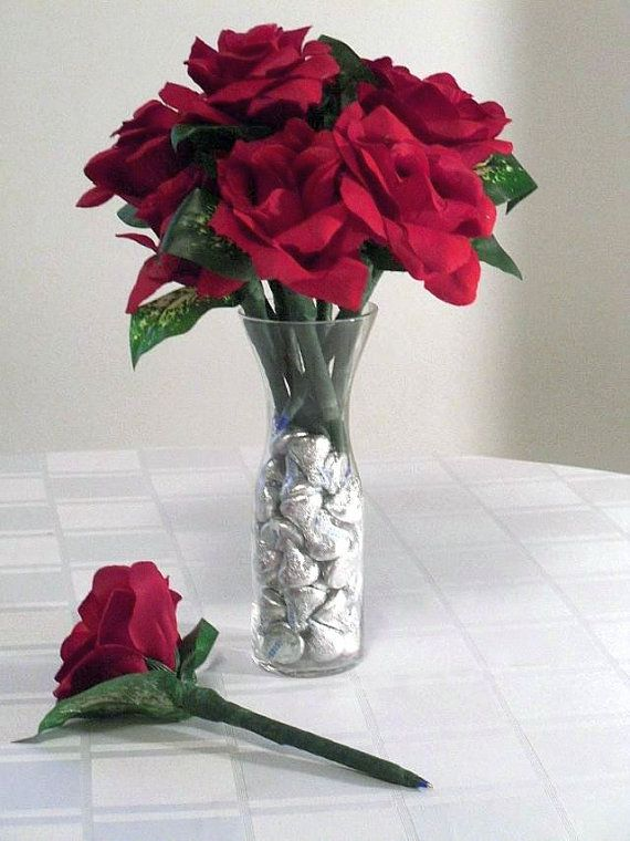 Roses And Kisses Flower Pen by MajesticSilkFlowers on Etsy