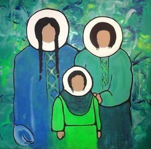 "HUGE ORIGINAL PAINTING 48 X 48"" INUIT FAMILY NATIVE CANADIAN ESKIMOS OOAK ART OOAK Oakville 905-510-8720 Green Blue"