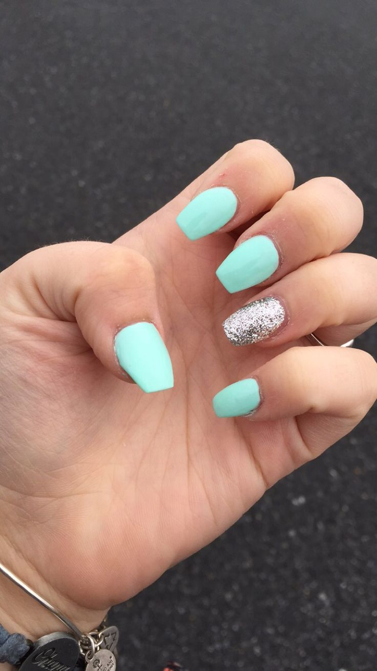 Cool Tiffany Blue Coffin Shaped Nails With A Silver Accent Nail Coffin Shape Nails