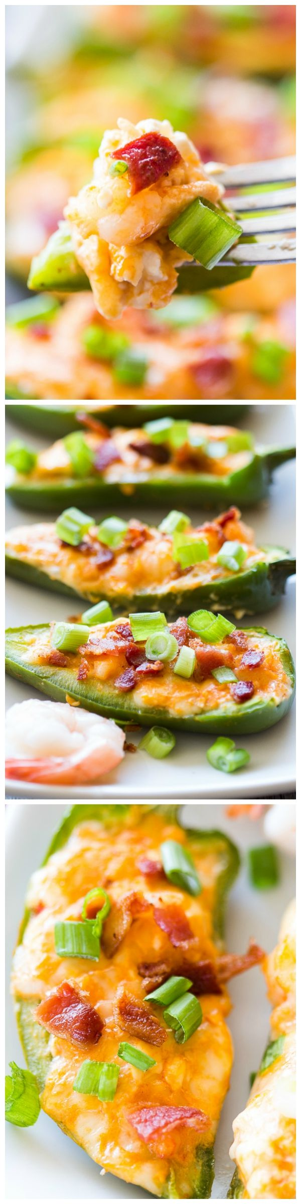 A spicy Chipotle Shrimp Jalapeño popper, stuffed with a hearty blend of cheeses, spicy chipotle sauce, and jumbo shrimp pieces. Topped with crispy bacon pieces and green onions!