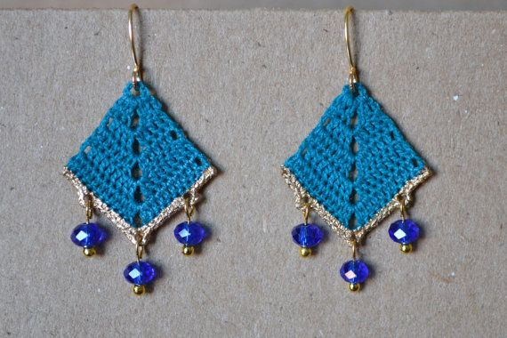 Blue crochet earrings. Stiffened and edges painted