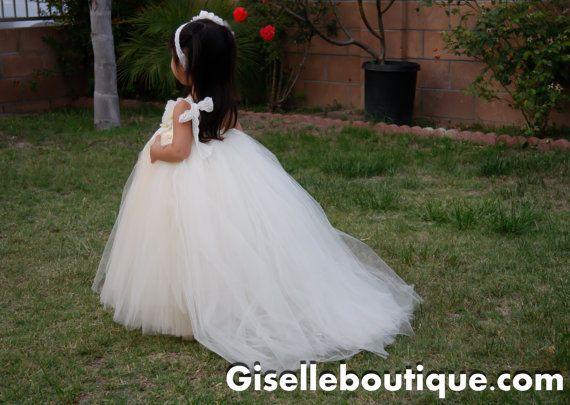 Flower girl dress. Ivory Lace TuTu Dress with Train.baby tutu dress, toddler tutu dress, wedding, birthday, Newborn, 2t,3t,4t,5t on Etsy, $105.00