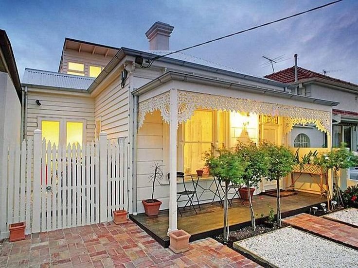 Edwardian, victorian facade ideas with pavers and weatherboard